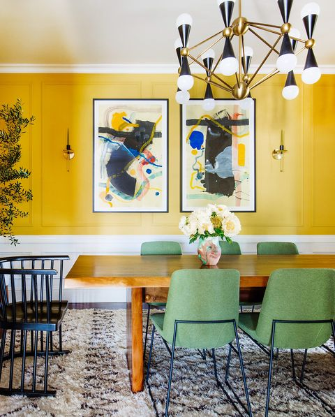 Room, Interior design, Yellow, Green, Dining room, Property, Furniture, Building, Ceiling, Table,