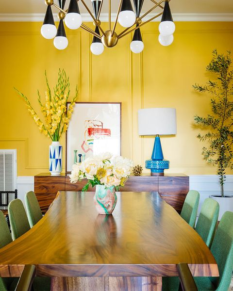 Dining room, Room, Interior design, Property, Yellow, Furniture, Green, Ceiling, Turquoise, Home,