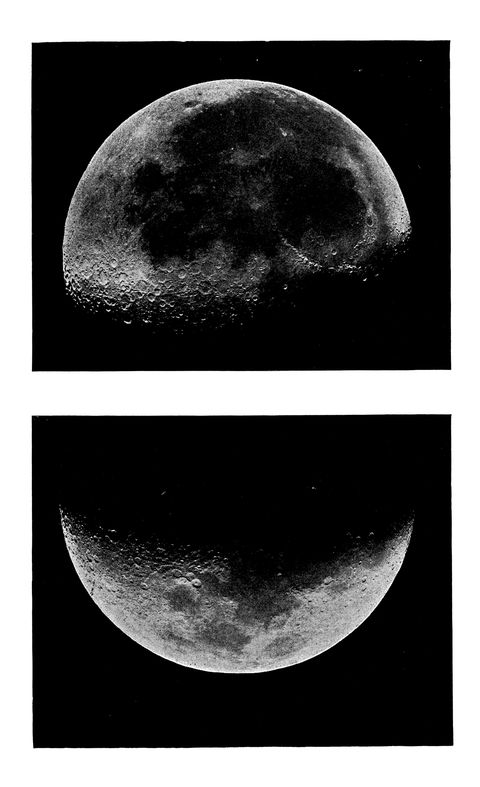 old engraved illustration of astronomy, moon's moon's mountains and craters
