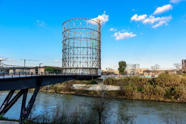 old gasometer ponte dell'industria bridge testaccio tevere river rome lazio italy europe