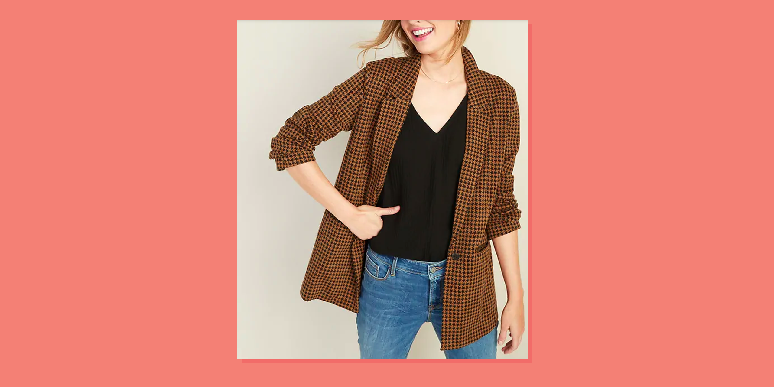 I Plan on Wearing Old Navy's Houndstooth Blazer Every Day This Fall
