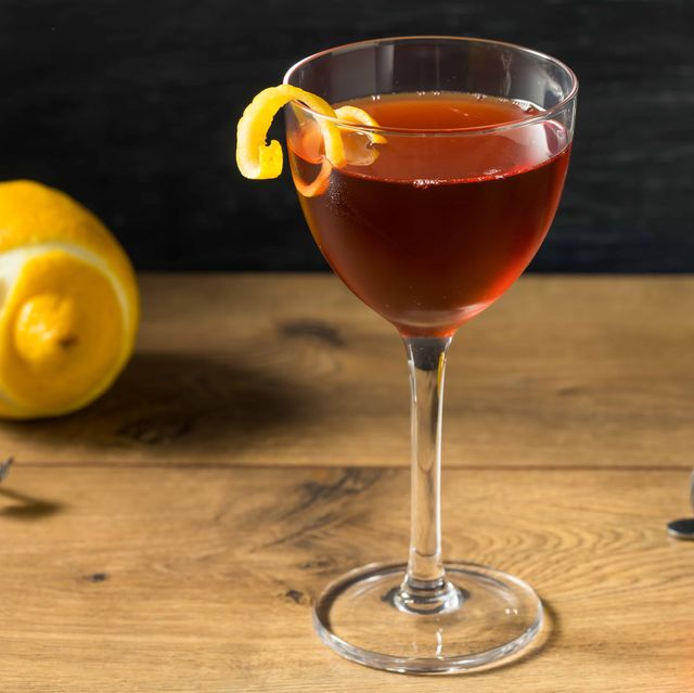 homemade classic old pal cocktail with whiskey and vermouth