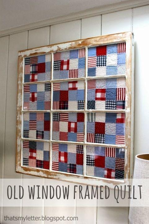 old window framed quilt