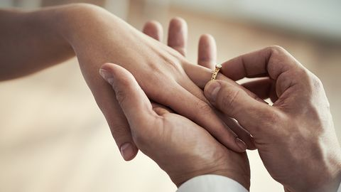 Finger, Hand, Skin, Nail, Holding hands, Ring, Gesture, Joint, Interaction, Close-up,