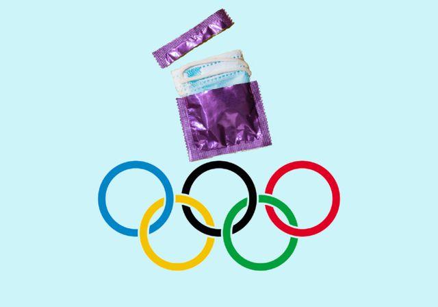 el símbolo de los juegos olimpicos junto a un condón