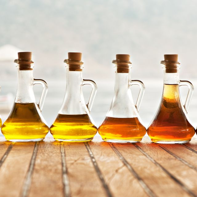 Olive oil and vinegar in bottles