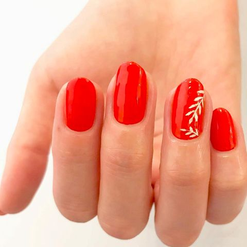 Nail polish, Nail, Red, Finger, Manicure, Nail care, Cosmetics, Skin, Orange, Material property,
