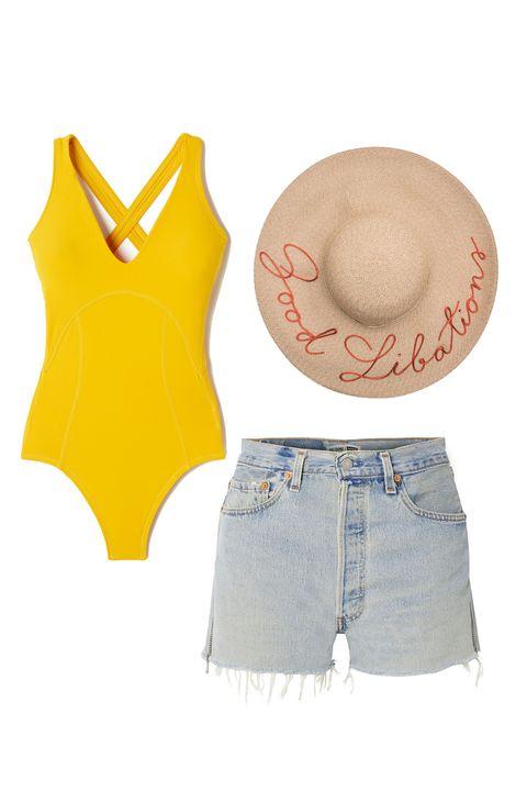 Clothing, Yellow, Jeans, Waist, Denim, Shorts, Crop top, Orange, Abdomen, Sleeveless shirt,