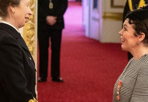 olivia colman with princess anne at buckingham palace