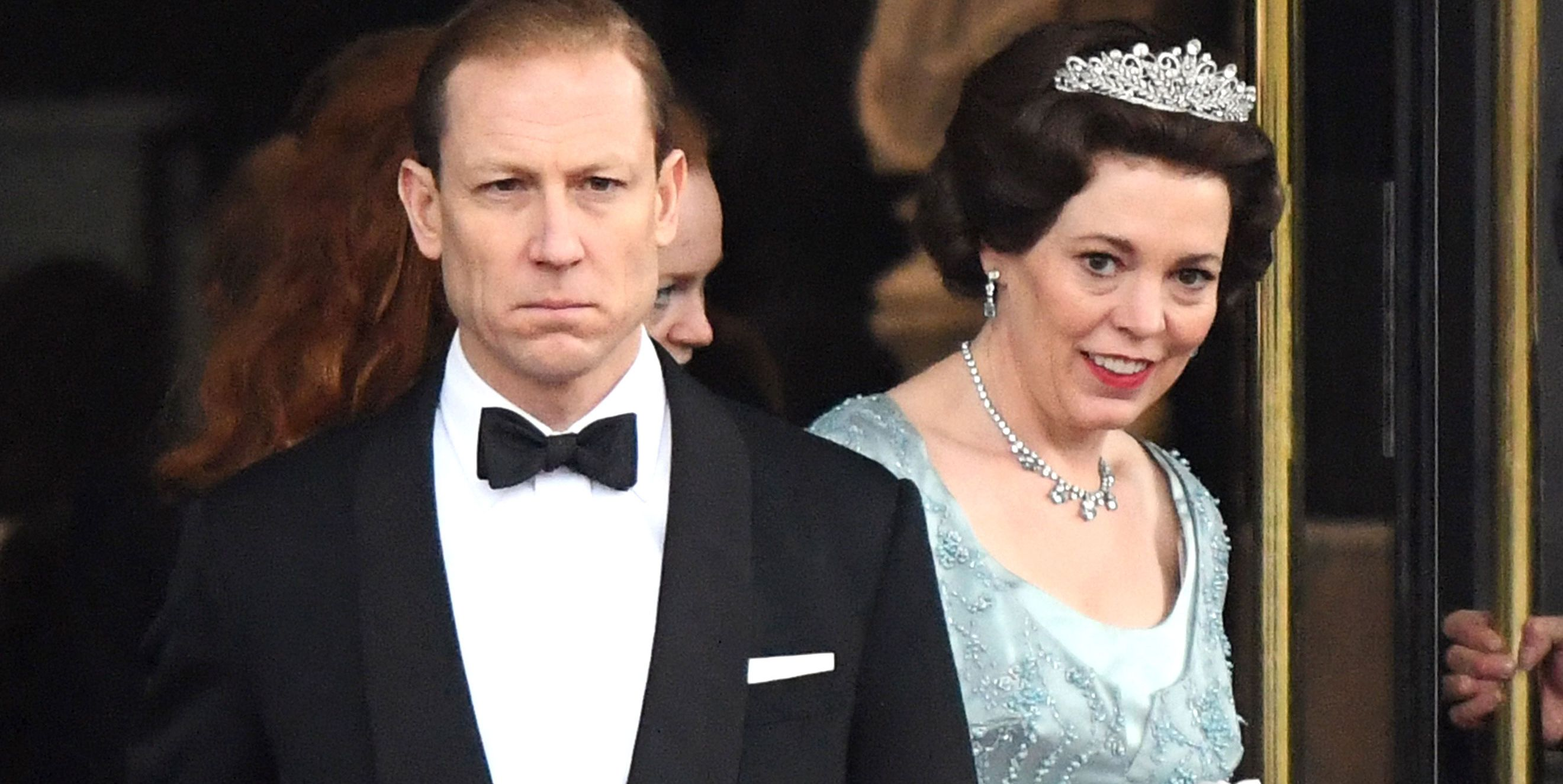 Olivia Colman as Queen Elizabeth II, filming The Crown at the Royal College of Physicians