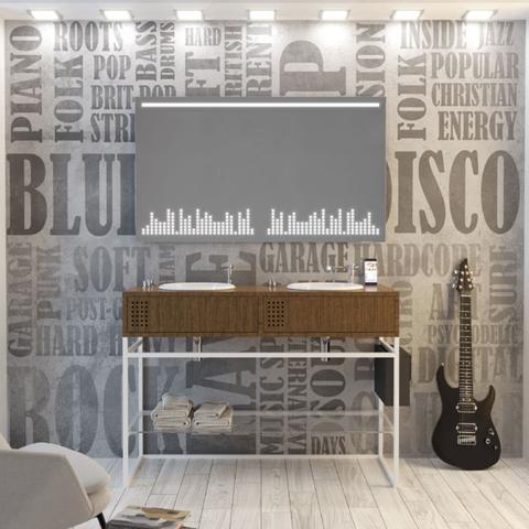 Wallpaper, Wall, Room, Furniture, Interior design, Tile, Floor, Living room, Design, Table,