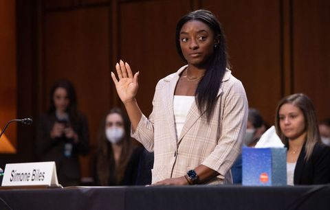 simone biles on capitol hill september 15 2021 testifying about the inspector general's report on the fbi handling of the larry nassar investigation