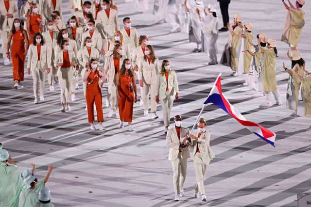 tokyo, japan july 23 flag bearers keet oldenbeuving and churandy martina of team netherlands during the opening ceremony of the tokyo 2020 olympic games at olympic stadium on july 23, 2021 in tokyo, japan photo by patrick smith getty images