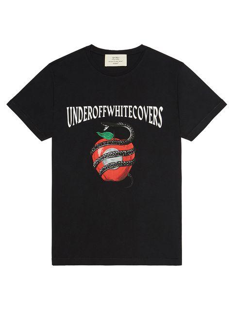 T-shirt, Clothing, Text, Sleeve, Font, Top, Watermelon, Active shirt, Brand, Fictional character,