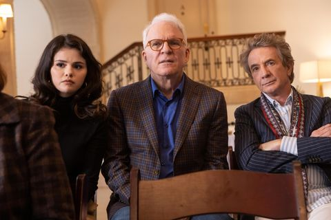 only murders in the building    who is tim kono   episode 102    the group begins researching the victim meanwhile, mabel's secretive past starts to be unraveled mabel selena gomez, oliver martin short, and charles steve martin, shown photo by craig blankenhornhulu