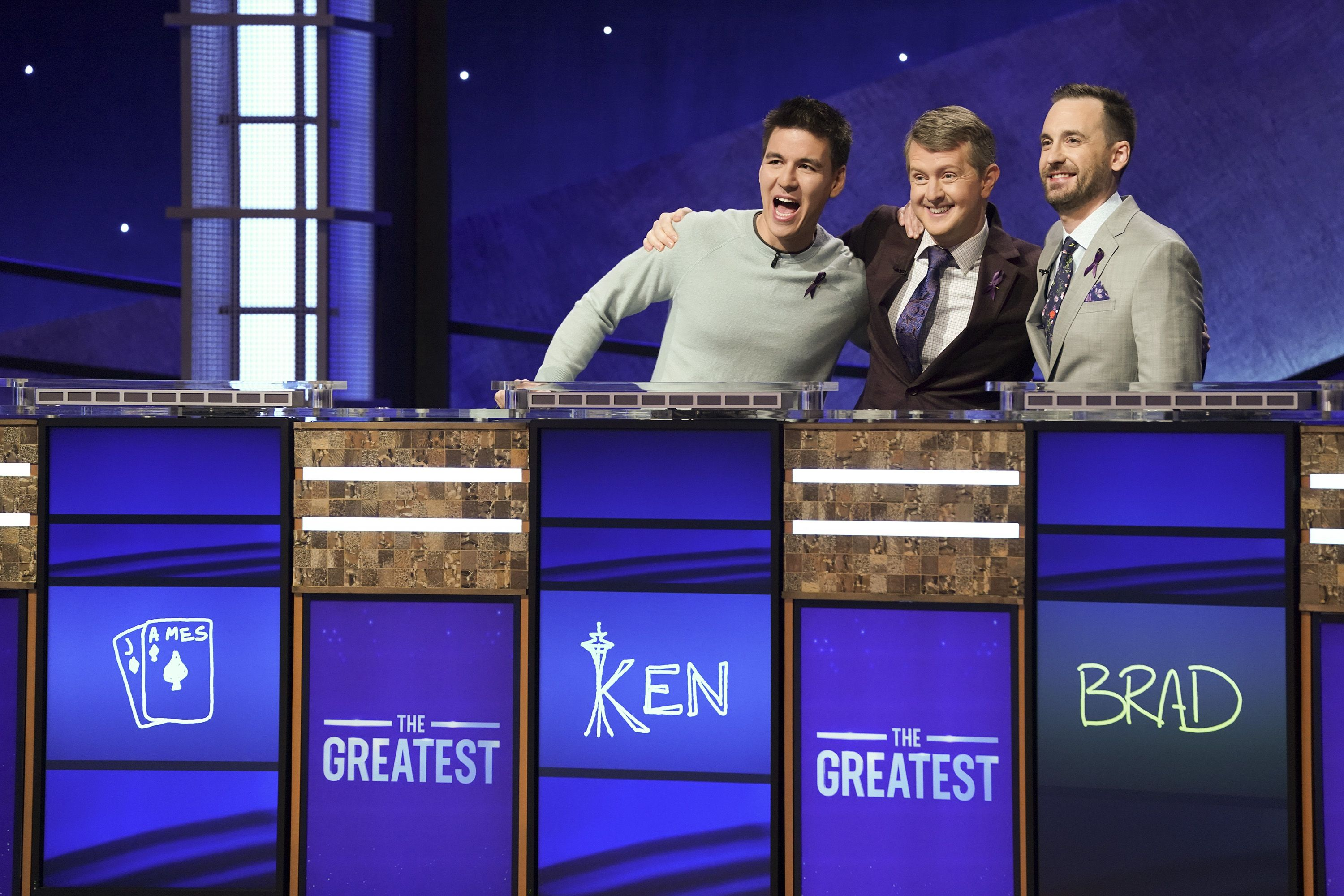 There's a Special Meaning Behind the Purple Ribbons Worn By 'Jeopardy!: GOAT' Contestants