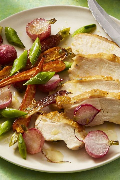 mothers day dinner recipes -Lemon-Thyme Chicken with Spring Saute