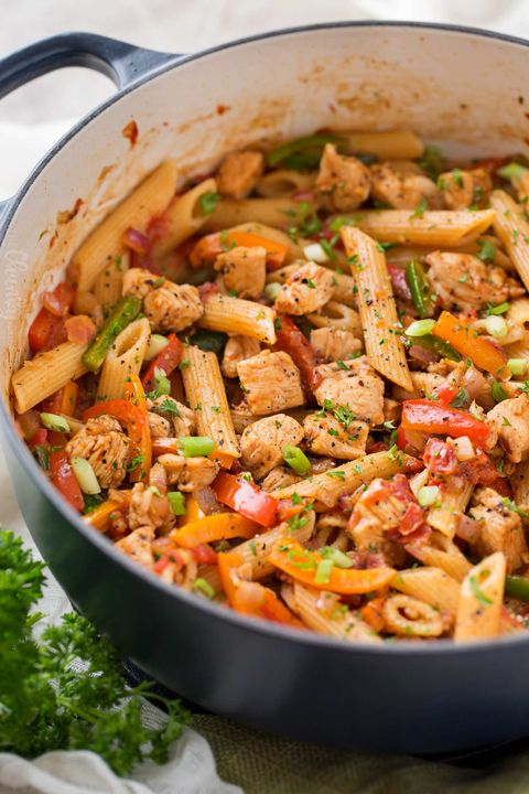 one pot chicken fajita pasta quick dinner recipe