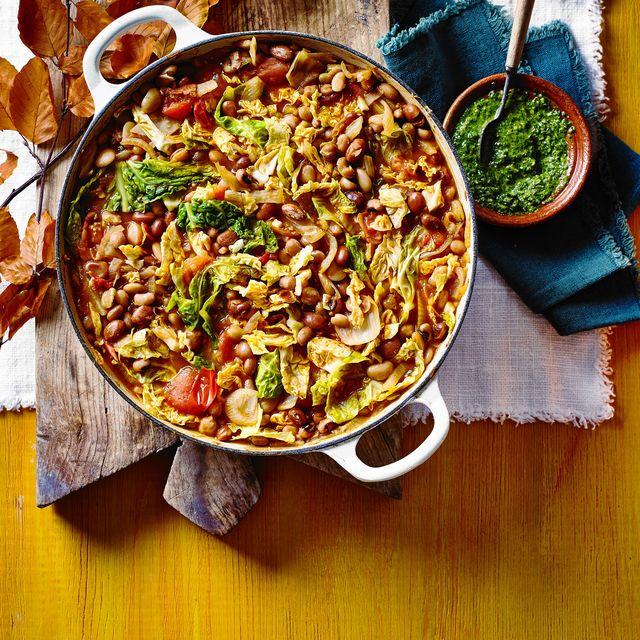 mixed bean stew with salsa verde