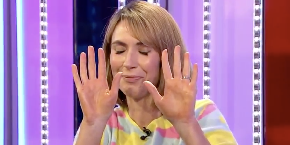 The One Show's Alex Jones shows fake tan blunder live on air