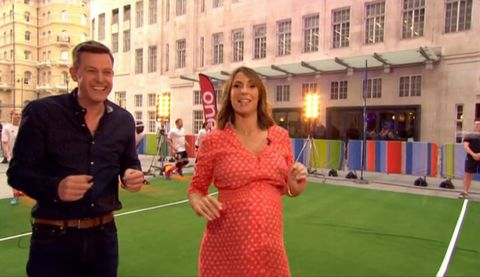 The One Show's Matt Baker gets hit in the face with a dodgeball on live TV