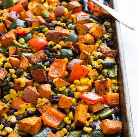 One pan Mexican sweet potato bake