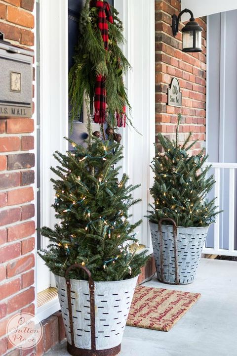 galvanized trees christmas decoration ideas