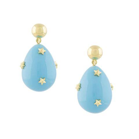 gouden oorbellen met lichtblauwe hanger en sterretjes van eshvi via farfetch