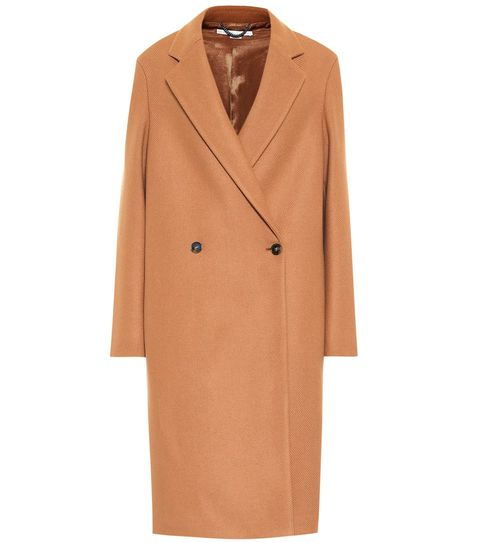 Clothing, Coat, Overcoat, Outerwear, Trench coat, Tan, Sleeve, Beige, Collar, Robe,