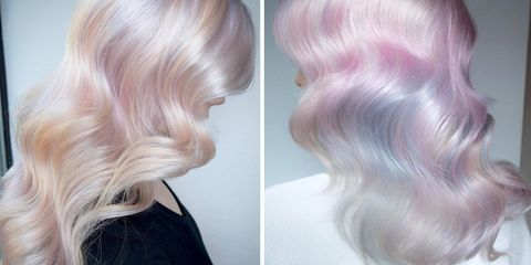 Hair, Blond, Hairstyle, Hair coloring, Pink, Chin, Purple, Layered hair, Human, Caramel color,