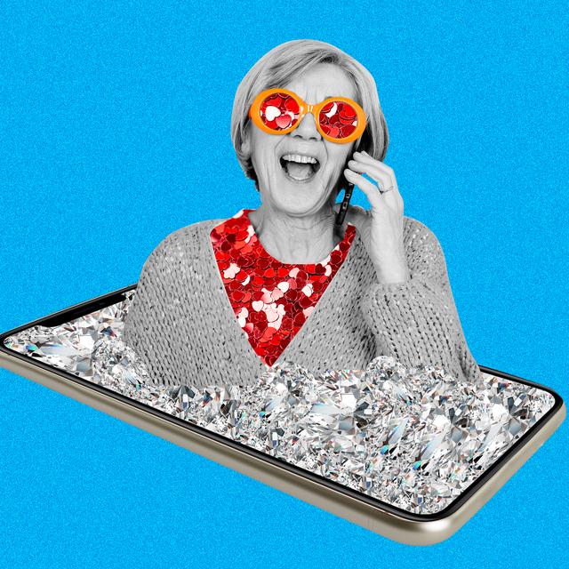 grandma on her phone wearing funny glasses