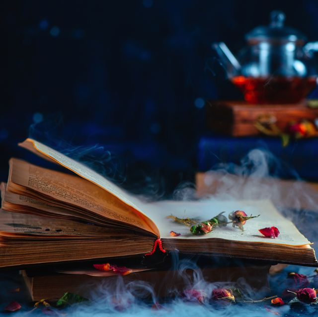 open book with mysterious smoke and rose petals teacup out of focus on a dark background spellbook and modern magic concept