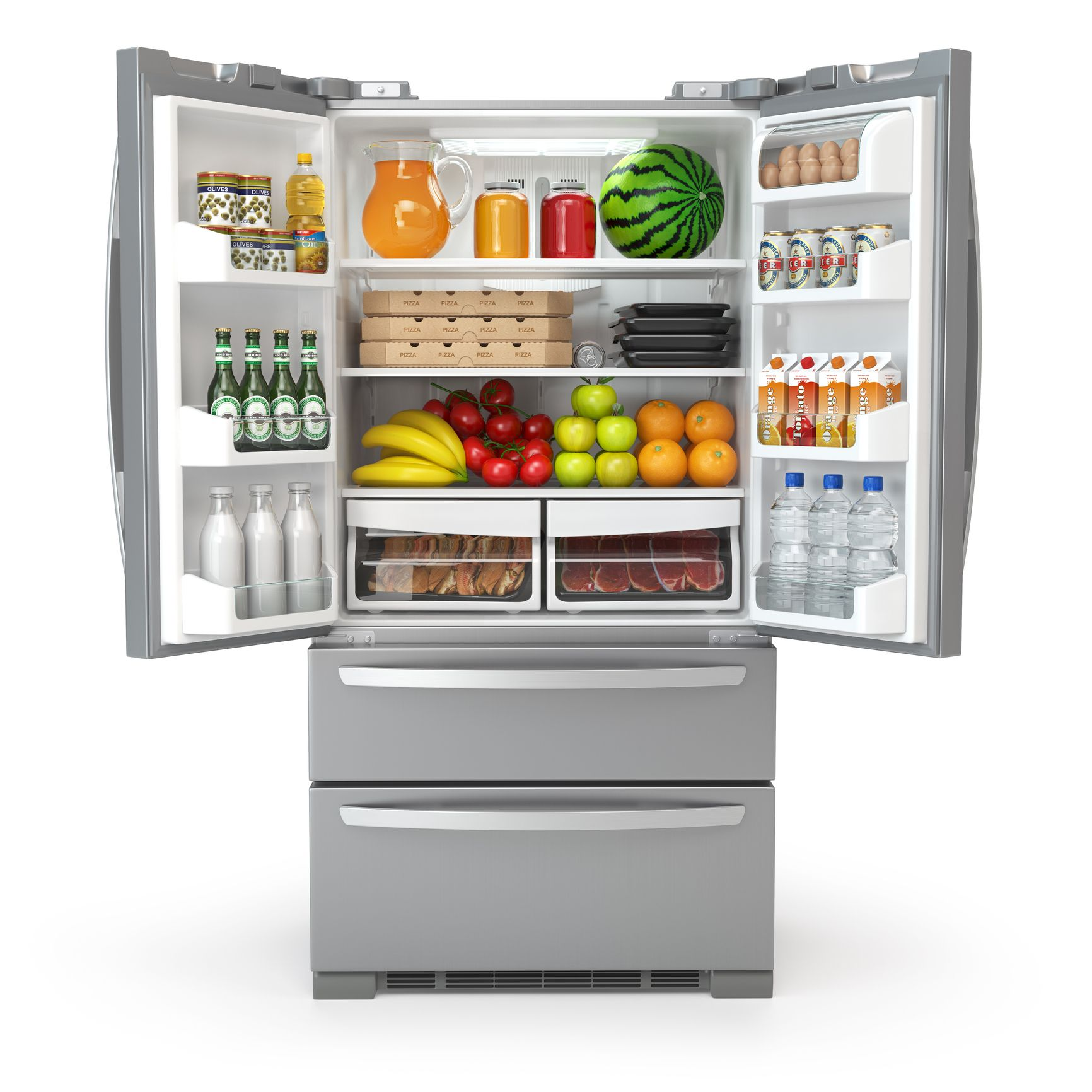 Open fridge refrigerator  full of food and drinks isolated on white background