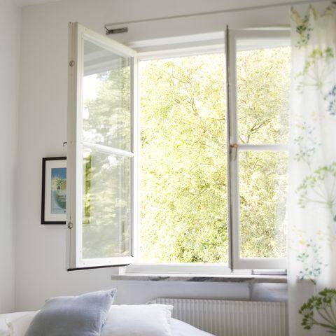 Open window in bedroom