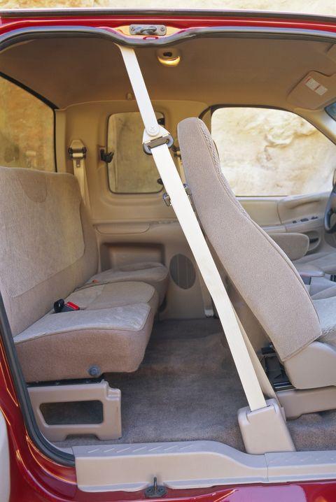 back seat of red van
