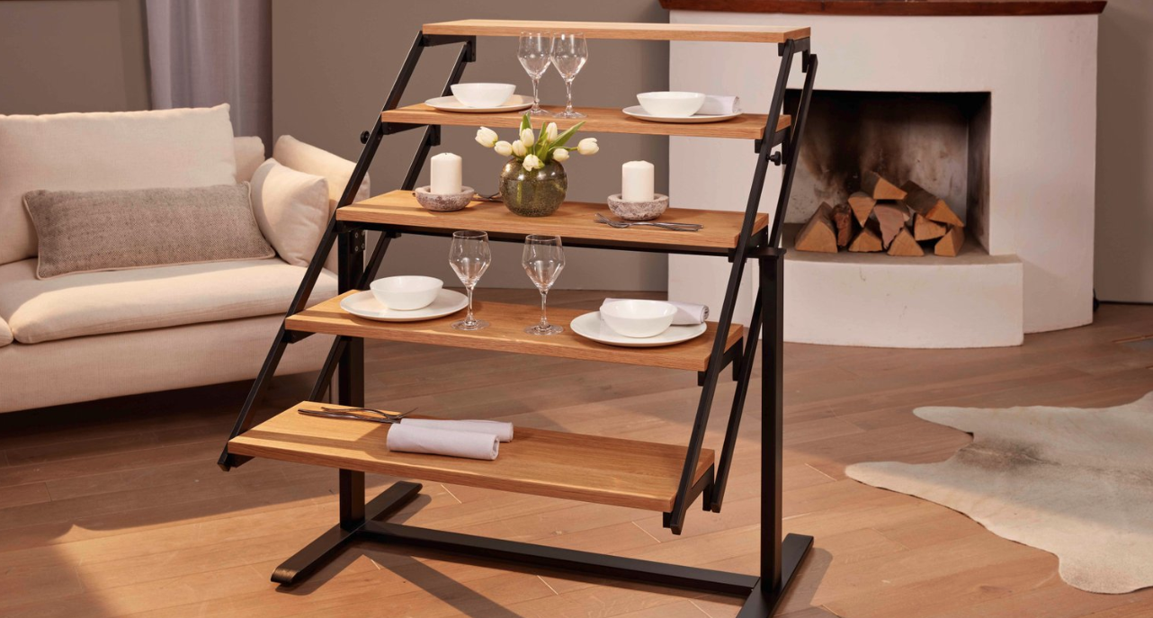 Convertible Shelf Transforms Into a Dining Table - This