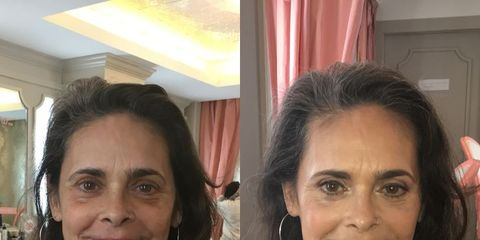 Before and after anti-aging makeup technique