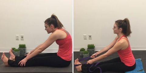 Incorrect and proper seated forward fold yoga