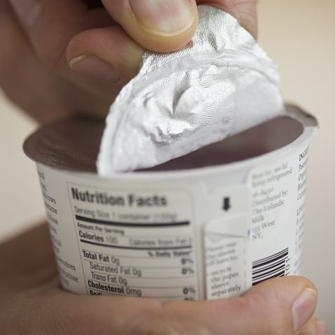 opening a yogurt container