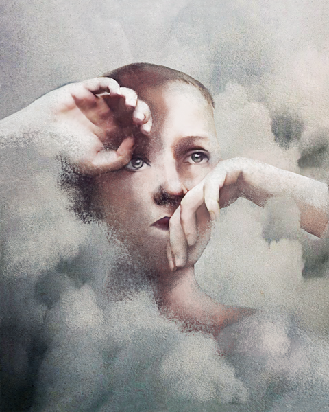 Face, Sky, Head, Cloud, Nose, Portrait, Eye, Forehead, Illustration, Art,