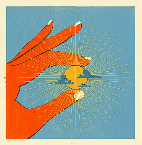 Orange, Illustration, Graphic design, Line, Art, Hand, Paper, Finger, Graphics, Rectangle,
