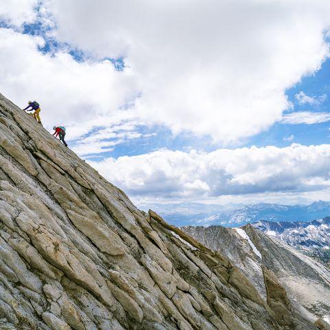 Mountainous landforms, Mountain, Ridge, Mountain range, Adventure, Sport climbing, Arête, Sky, Rock, Rock climbing,