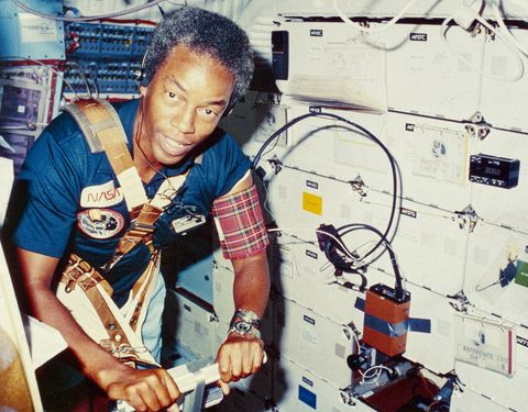 1983 dr guion s bluford jnr, a mission specialist on sts 8, the third flight of the orbiter challenger the crew carried out various tasks, which included deploying the indian national satellite, insat 1b photo by mpigetty images