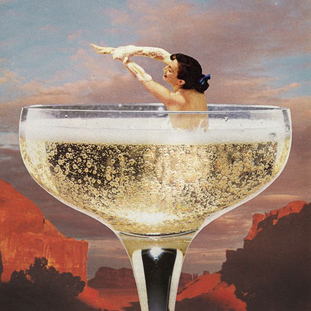 woman in champagne glass indulges in sober curiosity