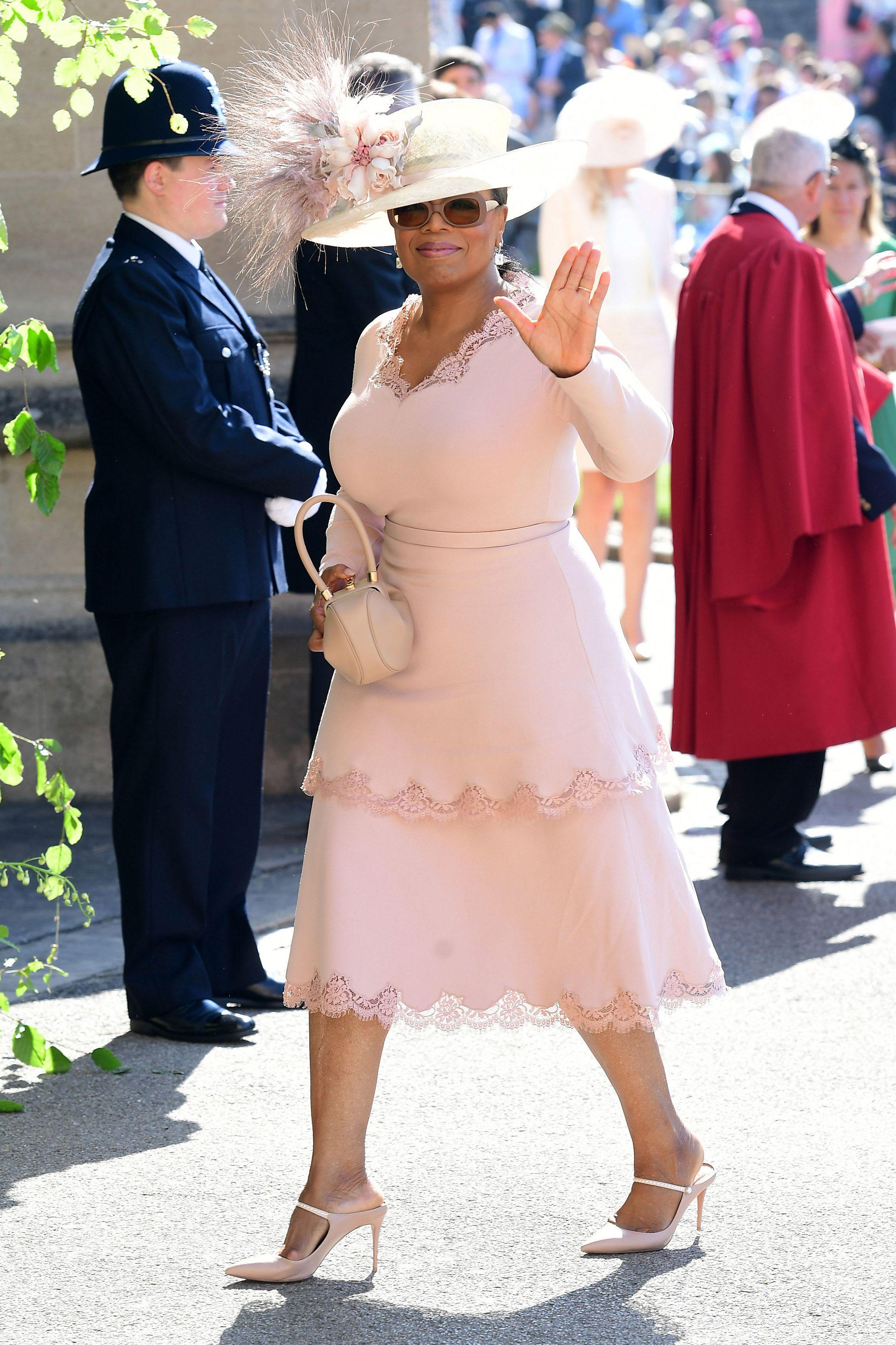 Oprah Wears Stella Mccartney Dress To Royal Wedding Walks And Idris Elba Arrive For Meghan Markle
