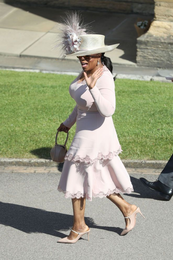 Oprah Winfrey arrives at the royal wedding.