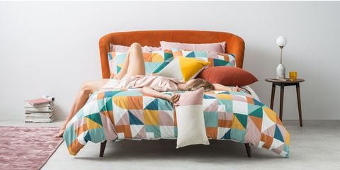 Bedding, Furniture, Bed sheet, Bed, Turquoise, Textile, Yellow, Orange, Room, Bedroom,