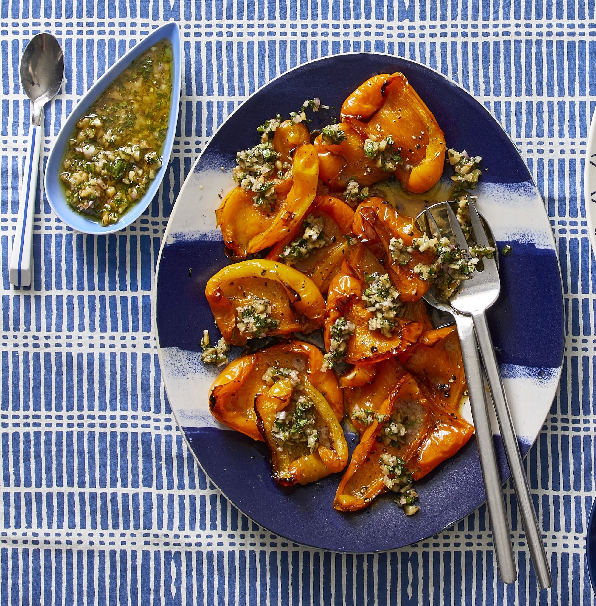 Slow-Roasted Orange Bell Peppers With Walnut Relish