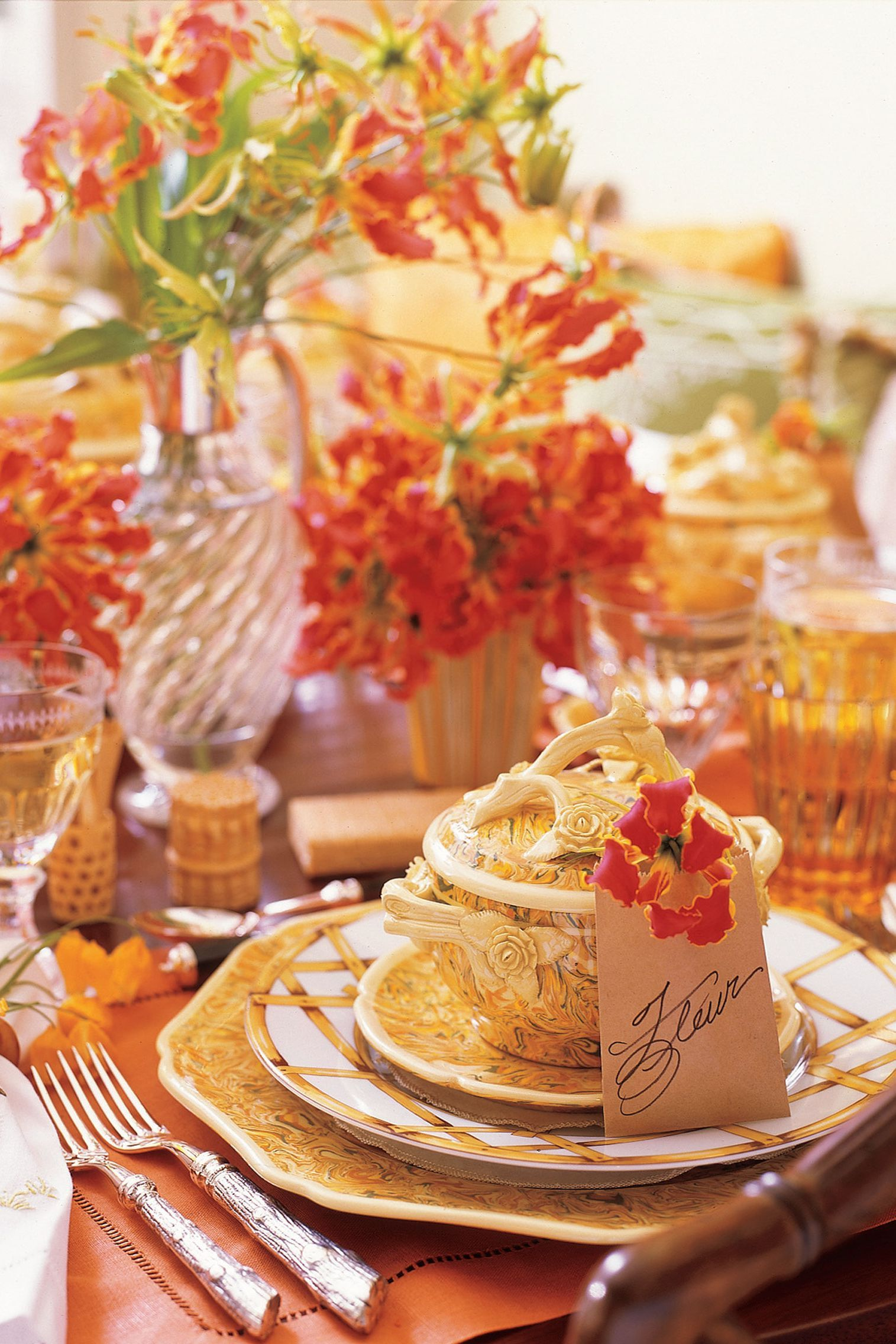 orange themed thanksgiving table setting idea