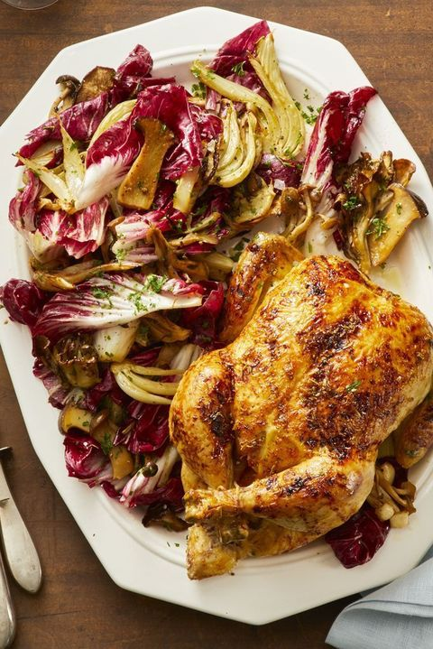 Orange-Ginger Roast Chicken with Fennel and Radicchio Salad
